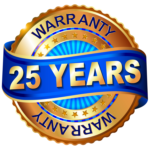 """Gold and blue seal ribbon actross middle says """"25 years,"""" The word """"Warranty"""" appears top and bottom"""