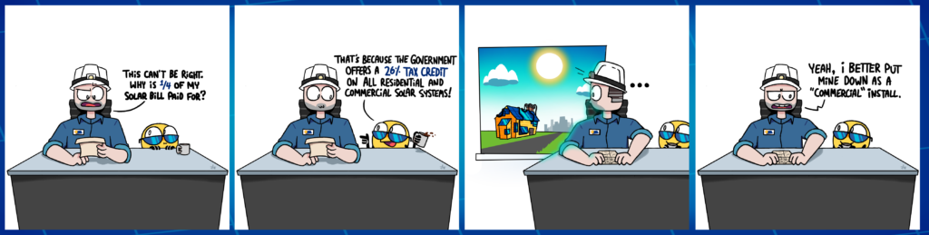 Comic Strip of the Federal ITC Solar tax credit with Soanny and Joe the Solar Guy